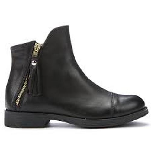 Geox Agata J Black Zip Detail Ankle Boot