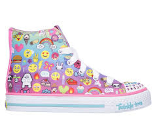 Skechers Twinkletoes Chat Time Emoji Print Baseball Boot with Lights