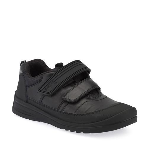 Start-Rite Bolt (E) Black Leather Scuff Toe School Shoe