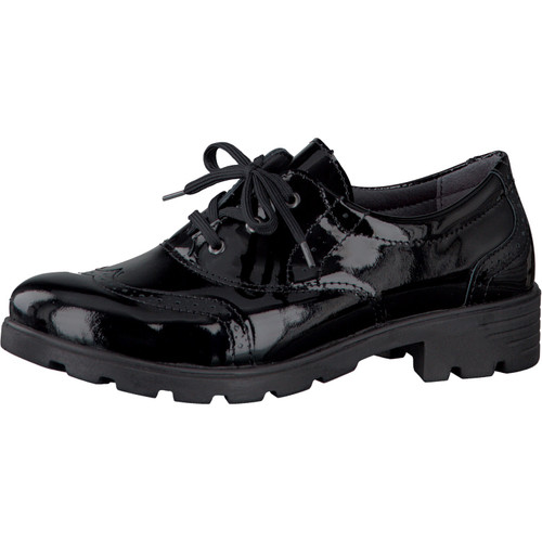 Ricosta Lucy Black Patent Leather Lace Up Brogue