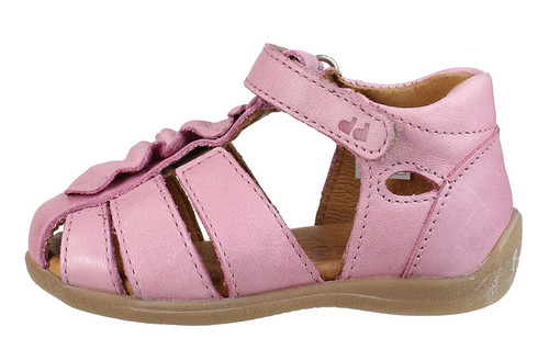 Froddo Baby Pink Ruffle Closed Toe Leather Sandal