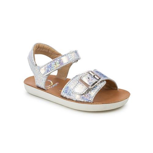 Shoo Pom Goa Girl Silver Laser Buckle Front Sandal