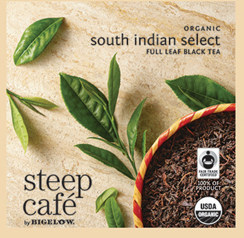 Steep Café Tea by Bigelow - Individually Wrapped Tea Bag: Black Tea - Organic South Indian Select (Fair Trade)
