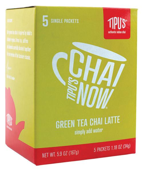 Tipu's Chai Tea Latte: Box of 5 Single Serves: Green Tea