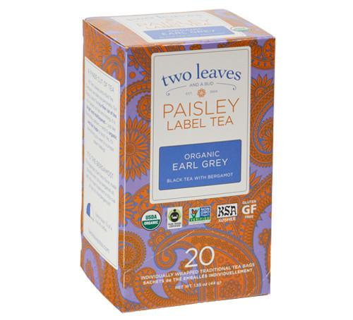 Two Leaves Tea - Box of 20 Paisley Label Tea Bags: Earl Grey