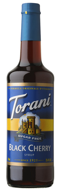 Torani Sugar Free Flavored Syrups - 750 ml Glass Bottle: Black Cherry