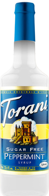 Torani Sugar Free Flavored Syrups - 750 ml Glass Bottle: Peppermint