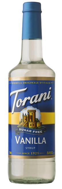 Torani Sugar Free Flavored Syrups - 750 ml Glass Bottle: Vanilla