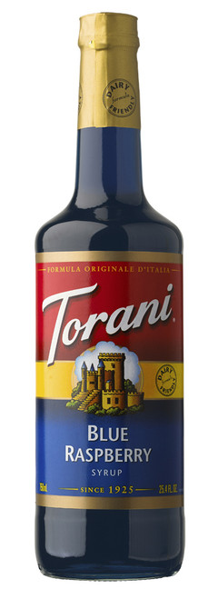 Torani Classic Flavored Syrups - 750 ml Glass Bottle: Blue Raspberry