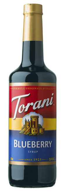 Torani Classic Flavored Syrups - 750 ml Glass Bottle: Blueberry