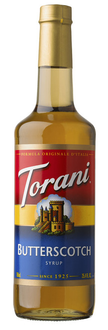 Torani Classic Flavored Syrups - 750 ml Glass Bottle: Butterscotch