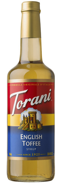 Torani Classic Flavored Syrups - 750 ml Glass Bottle: English Toffee