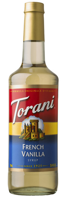 Torani Classic Flavored Syrups - 750 ml Glass Bottle: French Vanilla
