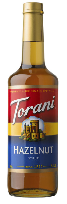 Torani Classic Flavored Syrups - 750 ml Glass Bottle: Hazelnut