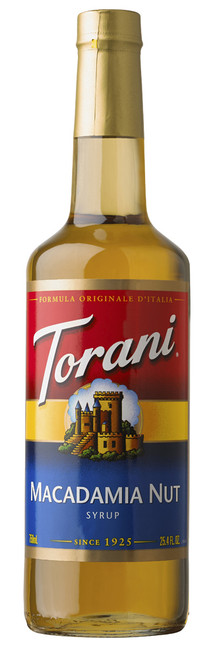 Torani Classic Flavored Syrups - 750 ml Glass Bottle: Macadamia Nut