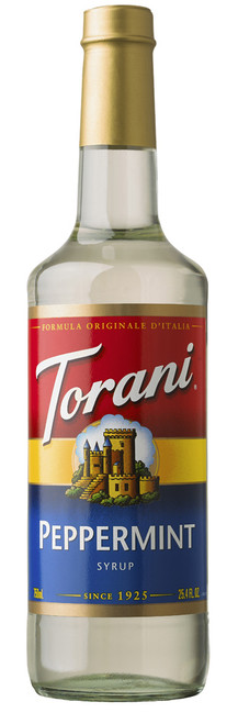 Torani Classic Flavored Syrups - 750 ml Glass Bottle: Peppermint