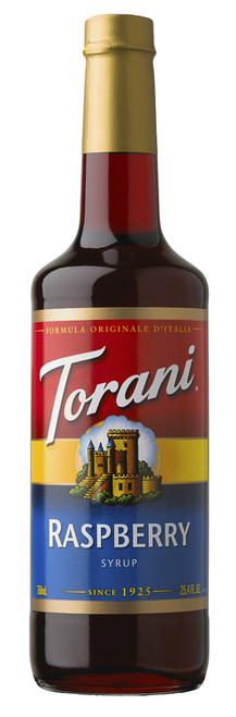 Torani Classic Flavored Syrups - 750 ml Glass Bottle: Raspberry