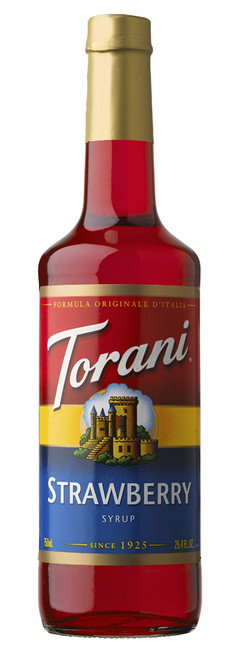 Torani Classic Flavored Syrups - 750 ml Glass Bottle: Strawberry