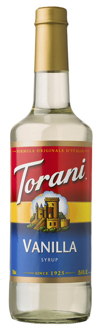 Torani Classic Flavored Syrups - 750 ml Glass Bottle: Vanilla