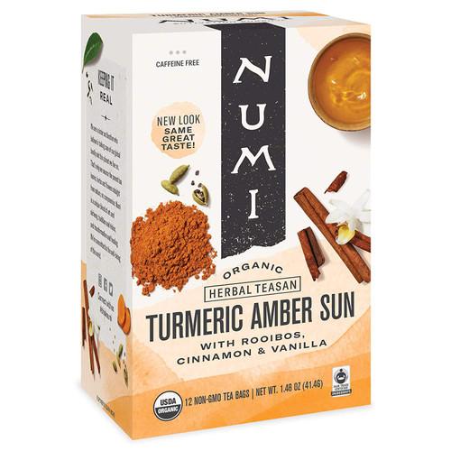 Numi Organic Turmeric Tea - Box of 12 Tea Bags: Amber Sun