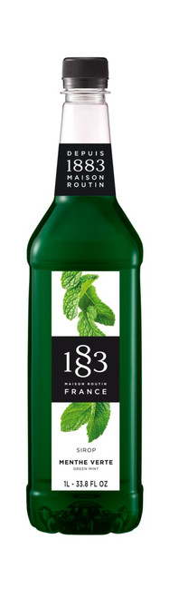1883 Classic Flavored Syrups - 1L Plastic Bottle: Green Mint
