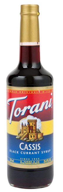 Torani Classic Flavored Syrups - 750 ml Glass Bottle: Cassis