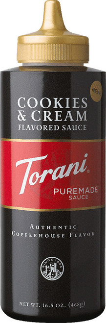 Torani Puremade Cookies & Cream Sauce: 16oz Bottle