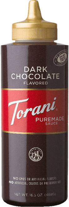 Torani Puremade Dark Chocolate Sauce: 16oz Bottle