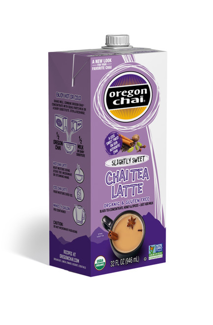 Oregon Organic Chai Tea : Slightly Sweet - 32 oz. Carton