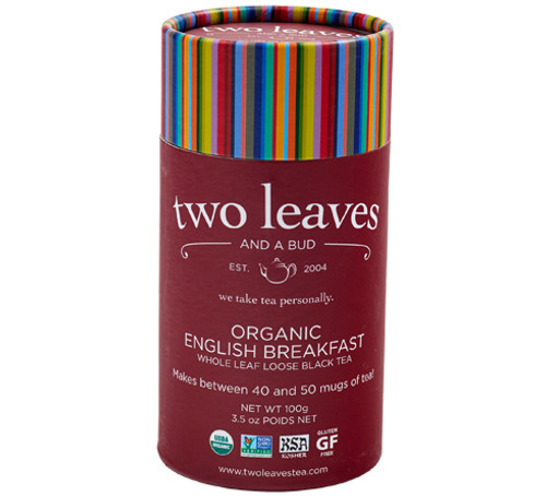 Two Leaves Tea: Organic English Breakfast - Loose Tea in a Cylinder