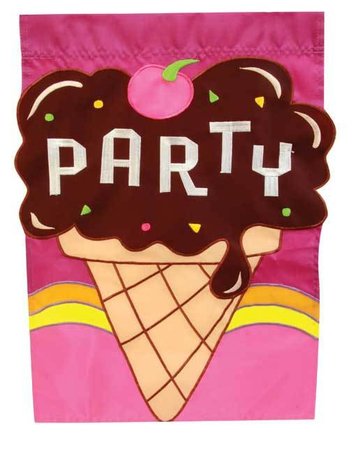 Party Ice Cream - Standard Applique Flag by Toland