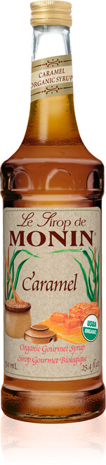 Monin Organic Flavored Syrups - 750 ml. Glass Bottle: Caramel (Organic)