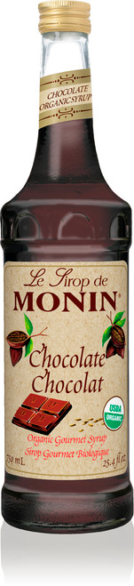 Monin Organic Flavored Syrups - 750 ml. Glass Bottle: Chocolate (Organic)