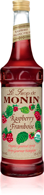 Monin Organic Flavored Syrups - 750 ml. Glass Bottle: Raspberry (Organic)