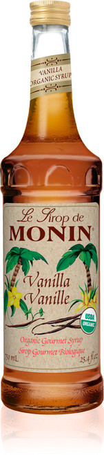 Monin Organic Flavored Syrups - 750 ml. Glass Bottle: Vanilla (Organic)
