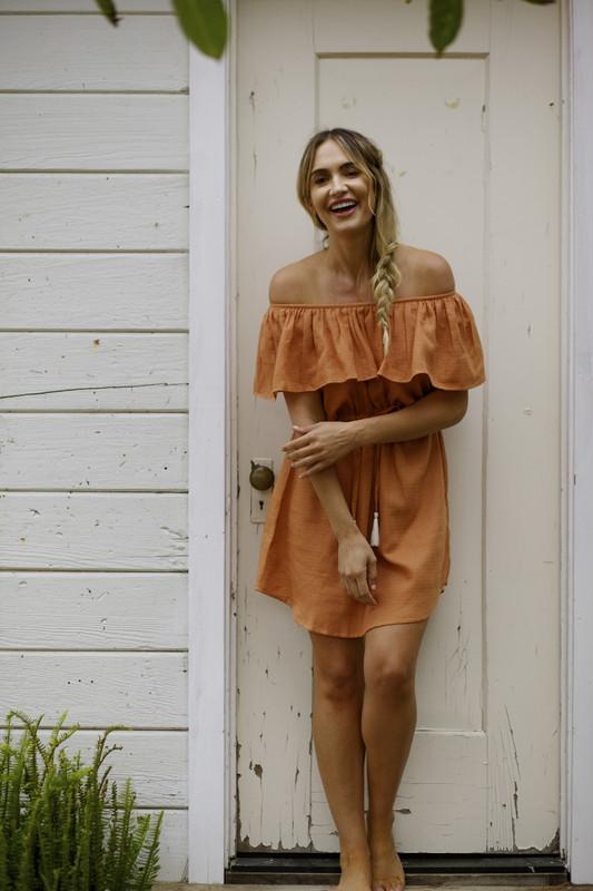 Ruby Dress   Caramel HAZEL MOON