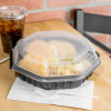 """Solo 809011-PP94 Creative Carryouts OctaView Supreme 9"""" x 9"""" x 3"""" Black Microwaveable Plastic Hinged Take-Out Container - 100/Case"""