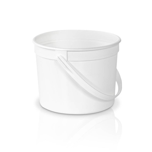 50 oz. Food Grade Round White Plastic  Bucket with White Plastic Handle (T51350CPB) - 300 count - case