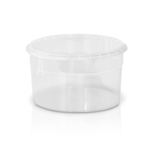 53 oz. Food Grade Flex-off Round Plastic Container (T61053FXCP) - Clarified (Clear) - 150 count - case