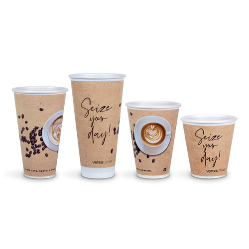 Versalite® Polypropylene (PP) Café Collection Cups WITH LIDS for Hot Drinks - Various Sizes  & Quantities