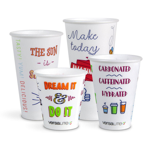 Versalite® Polypropylene (PP) Good Day Design Cups WITH LIDS for Cold Drink - Various Sizes and Quantities