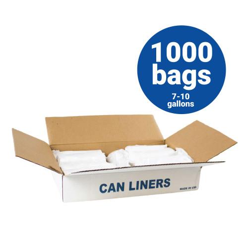 HDPE Liners-7-10 Gallon Natural Trash Bags 24x24 6 Micron 1000 Bags per case (H242406N)