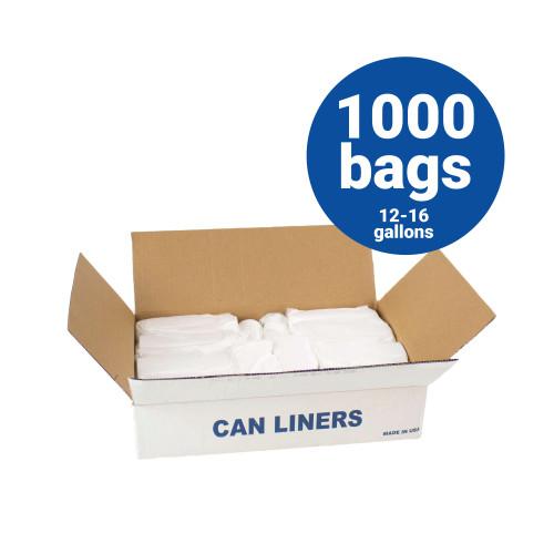 HDPE Liners-12-16 Gallon Natural Trash Bags 24x33 8 Micron 1000 Bags per case (H243308N)