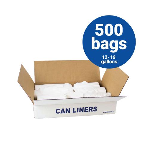 LLDPE Liners-12-16 Gallon White Trash Bags 24x32 .5 mil 500 Bags per case (L2432.5W)