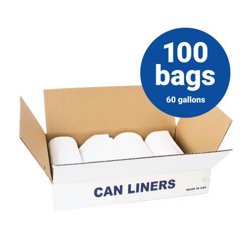 LLDPE Liners-60 Gallon White Trash Bags 38x58 .7 mil 100 Bags per case (L3858.7W)