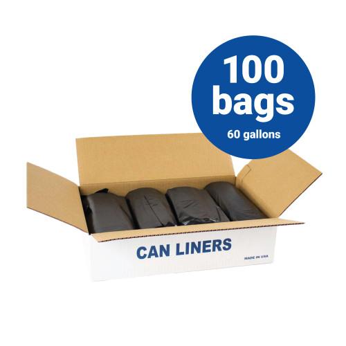 LLDPE Liners-60 Gallon Black Trash Bags 38x58 1.5 mil 100 Bags per case (L38581.5K )