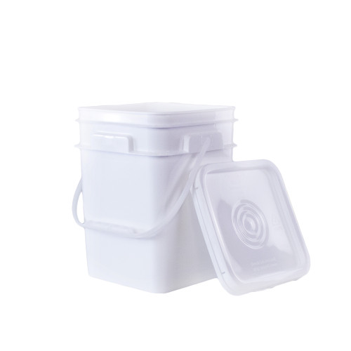 4 gal. BPA Free Food Grade White Bucket with Plastic Handle and Lid - starting quantity 1 count - FREE SHIPPING