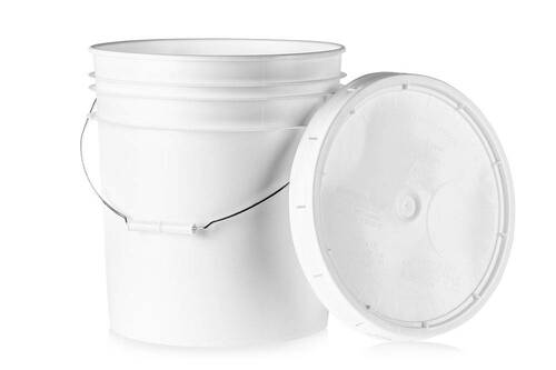 5 gal. BPA Free Food Grade White Bucket with Wire Handle and Lid  (T40MW) - starting quantity 1 count - FREE SHIPPING