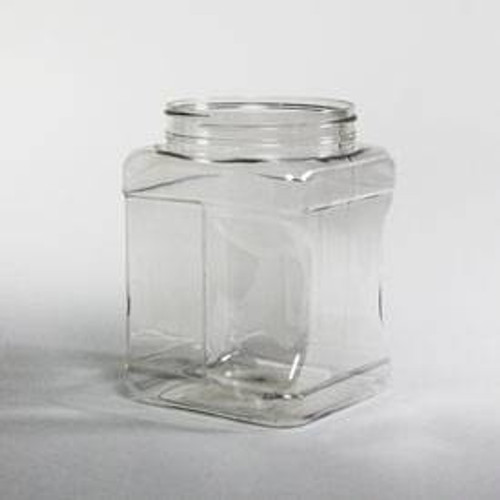 Gripped Plastic Square Jars - Clear (PET) - Various Sizes and Quantities