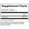 Supplement Facts Serving Size: 1 vegetable capsule Servings Per Container: 120 Ingredients	Amount per Serving	% Daily Value L-Carnitine	500mg	 * *Daily Value not established Other ingredients: Plant based magnesium stearate, microcrystalline cellulose, rice flour, vegetable cellulose (capsule).